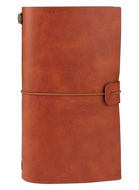 Diario de cuero, ONSON cuaderno de viajeros recargables hechos a mano de la vendimia diario agenda bloc de notas con bolsillo de la cremallera de PVC ...