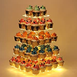 YestBuy Cupcake Stand, 5 Tier Premium Cupcake Holder, Acrylic Cupcake Tower Display – Cady Bar Party Décor, Acrylic Display for Pastry + LED Light String, Ideal for Weddings, Birthday (Yellow)