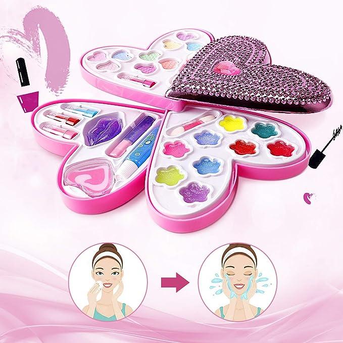 Cosmetics Set Petite Girls Heart Shaped Cosmetics Play Set - Fashion Makeup  Kit for Kids