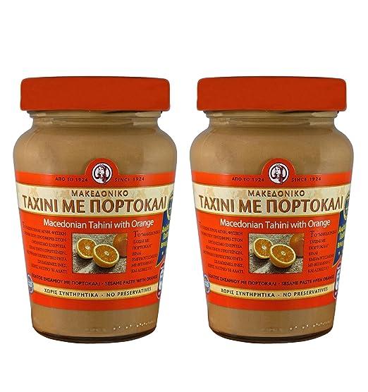2x Pasta de sésamo Tahini con naranja de Macedonia (700g) Tahin Pasta de sésamo