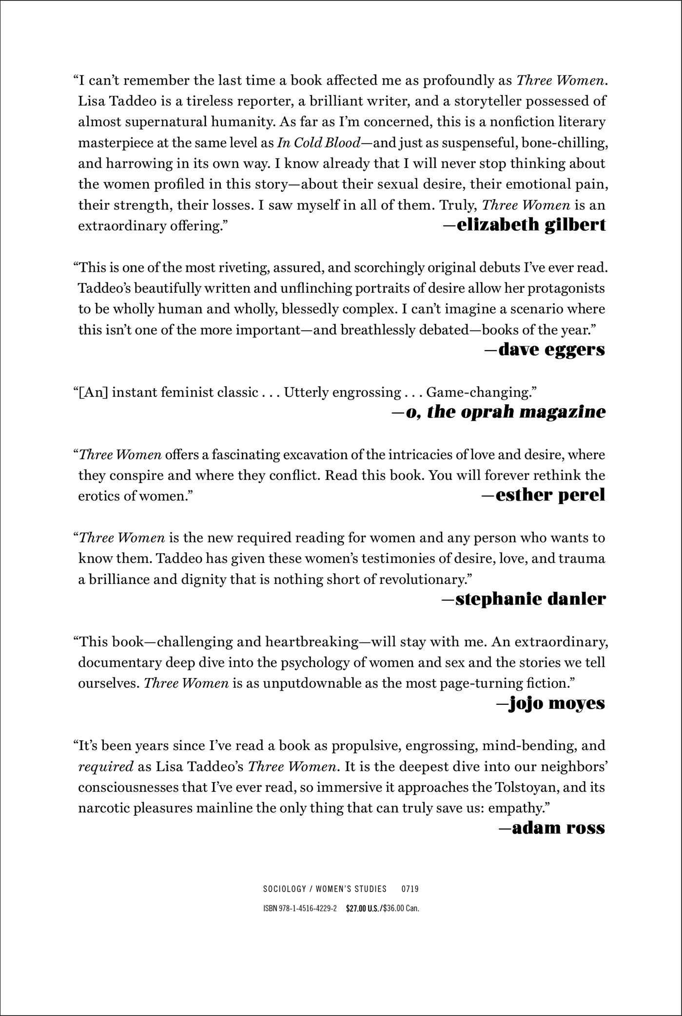 Amazon.com: Three Women (9781451642292): Lisa Taddeo: Books