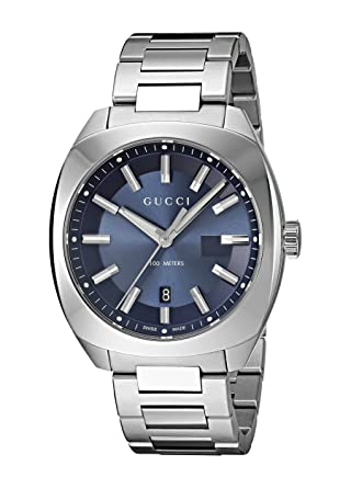 59cdd2dfc Gucci Men's Blue Dial Stainless Steel Band Watch - YA142303: Amazon ...