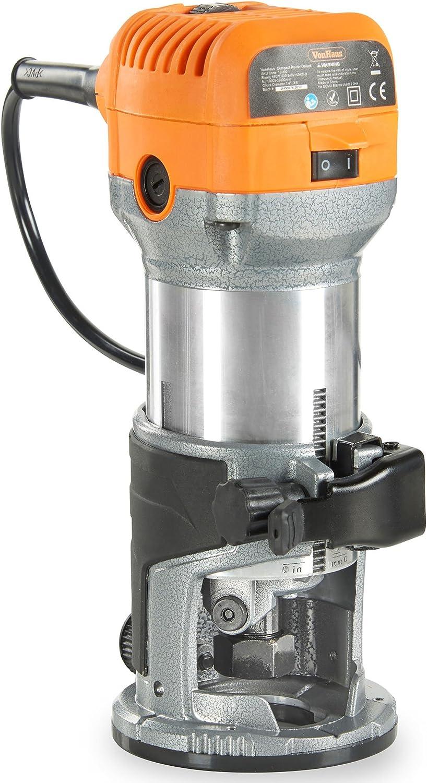 """VonHaus Fresadora Compacta - 710W Incluye 3 x pinzas portabrocas: 1/4"""", 6mm, 8mm. - Incluye una Base de Corte Para Madera y Pisos Laminados"""