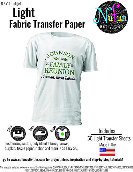 papel de transferencia para planchar 8.5 x 11 pulgadas Tela de color claro para impresoras de inyecci/ón de tinta paquete de 8