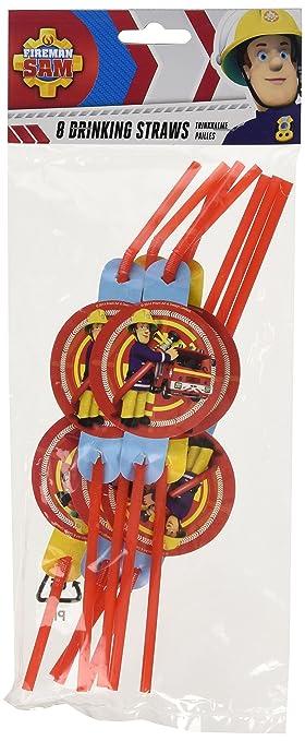 8 pajitas * Fireman Sam * para la fiesta y el cumpleaños ...