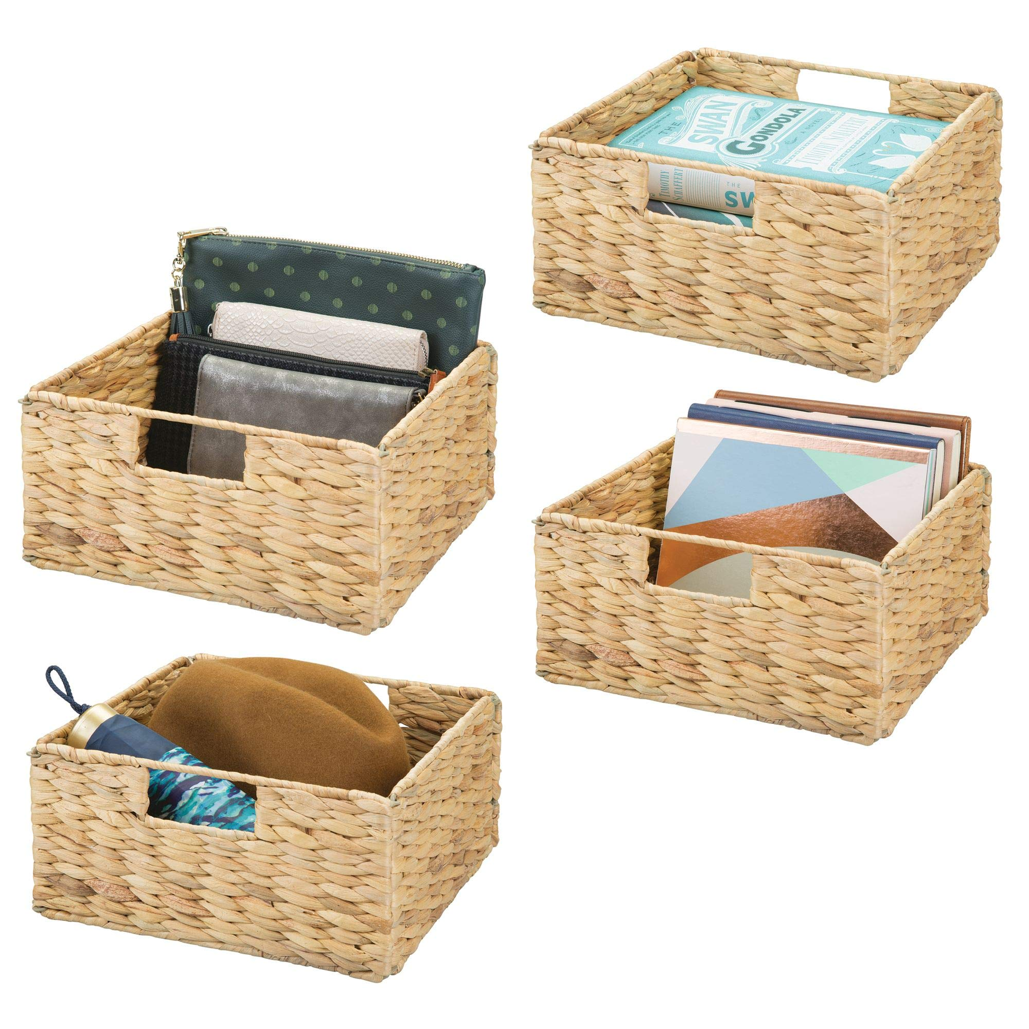 mDesign Natural Woven Hyacinth Closet Storage Organizer Bin - Half Height Cube - Handles, Collapsible, for Closet, Bedroom, Bathroom, Entryway, Office - 5.25'' High, 4 Pack, Steel Frame, Natural