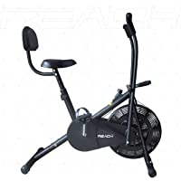 Reach AB-110 Air Bike Exercise Fitness Cycle with Moving or Stationary Handle Adjustments for Home - 3 Options (Moving/Stationary Handles   Back Support Seat  Twister)