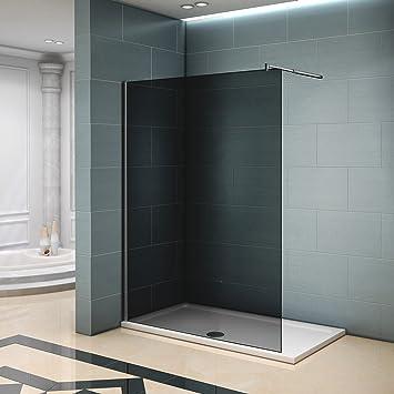 Mampara de ducha 120 y 140 cm de cristal ahumado con barra ...