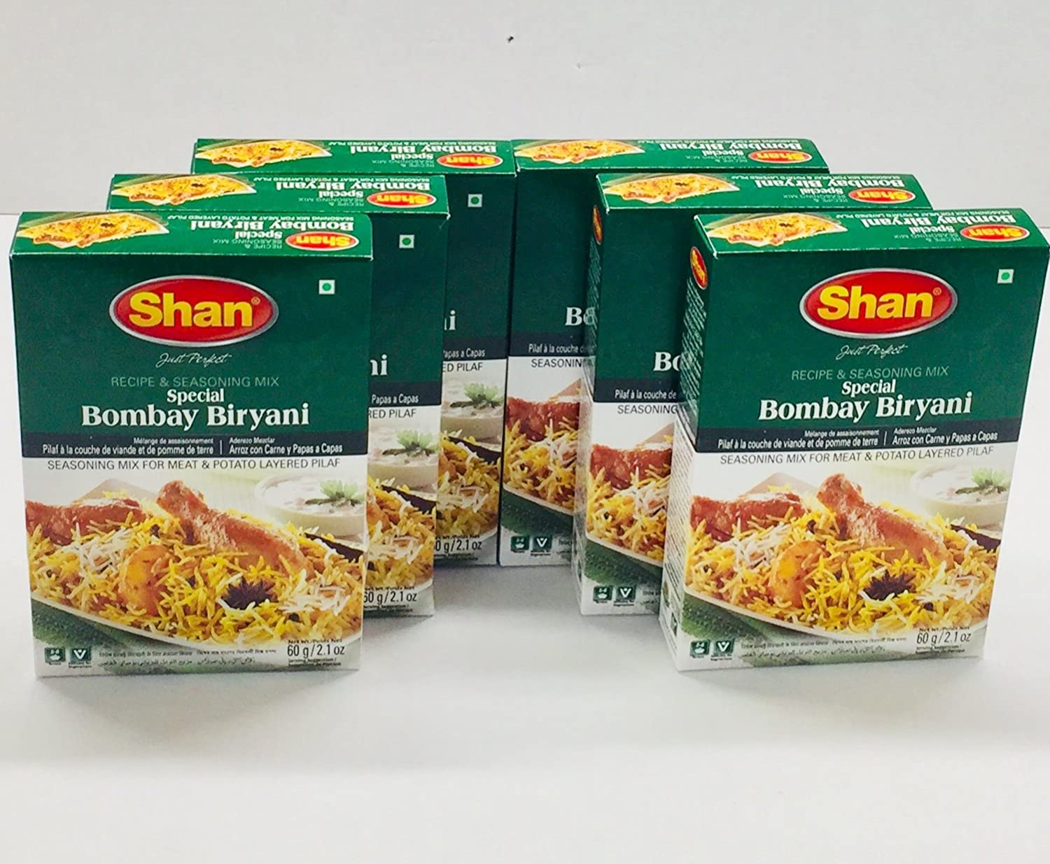 Shan Premium Special Bombay Biryani Masala Recipe And Seasoning Mix, Indian Food Spices, 2.1oz/60g(Pack of 6)
