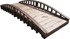 SamsGazebos Crescent Japanese Style Wood Garden Bridge, 8', Brown (MB-CR-T-8)
