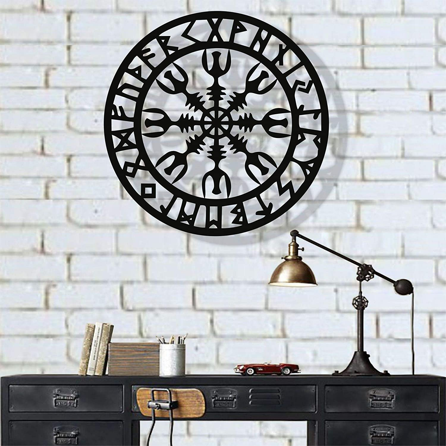 "DEKADRON Metal Wall Art, Metal Viking Decor, Nordic Mythology Vegvisir Runes and Symbols, Metal Wall Decor, Home Decor, Interior Decoration (18"" W x 18"" H / 45x45 cm)"