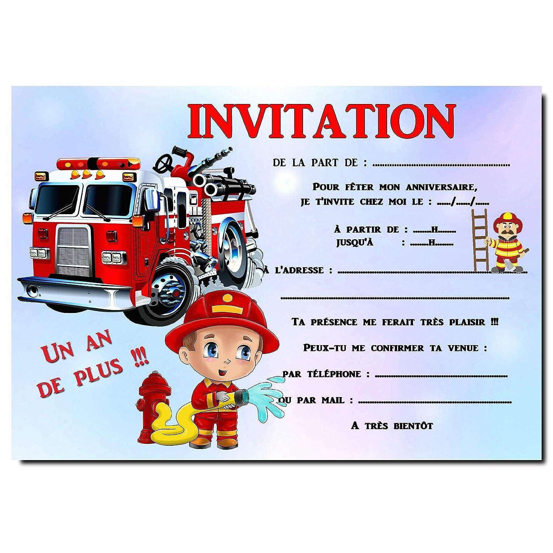 Cartes Invitation Anniversaire Pompier Par 12 Avec Enveloppes Ref 458 Amazon Fr Handmade