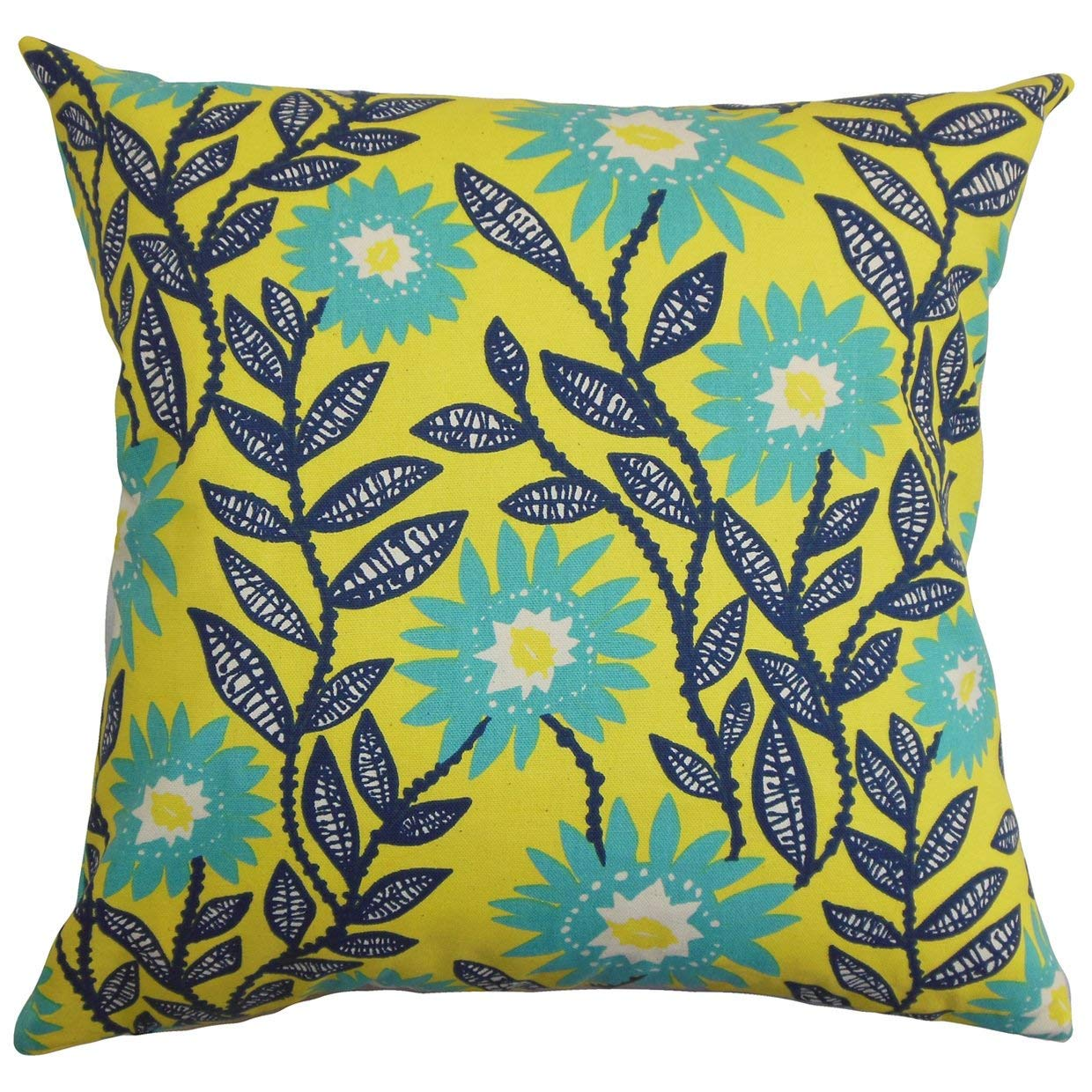 The Pillow Collection Leena Floral Yellow Down Filled Throw Pillow
