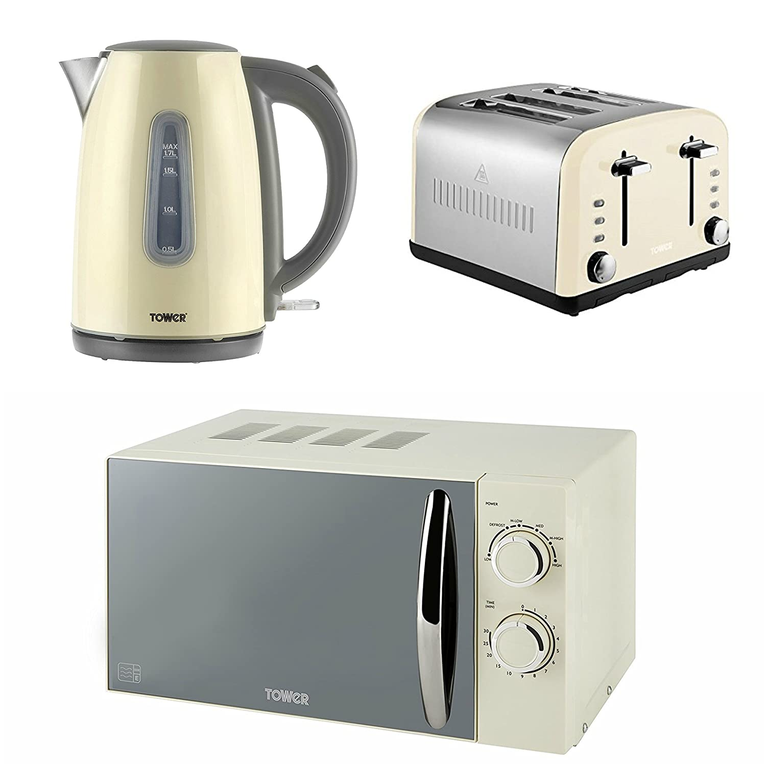 Tower Modern Infinity Cream Kitchen Set - a 1.7L Jug Kettle with Window a 4 Slice Toaster and a Manual Solo Microwave Microwave, 800 W, 20 L