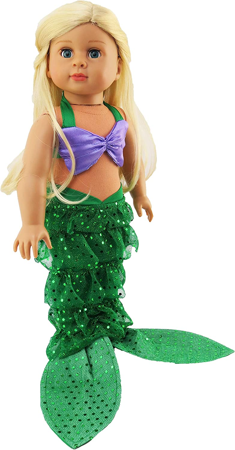 Mermaid Tail Dress for American Girl Our Generation Doll 18 inch Dolls Clothes