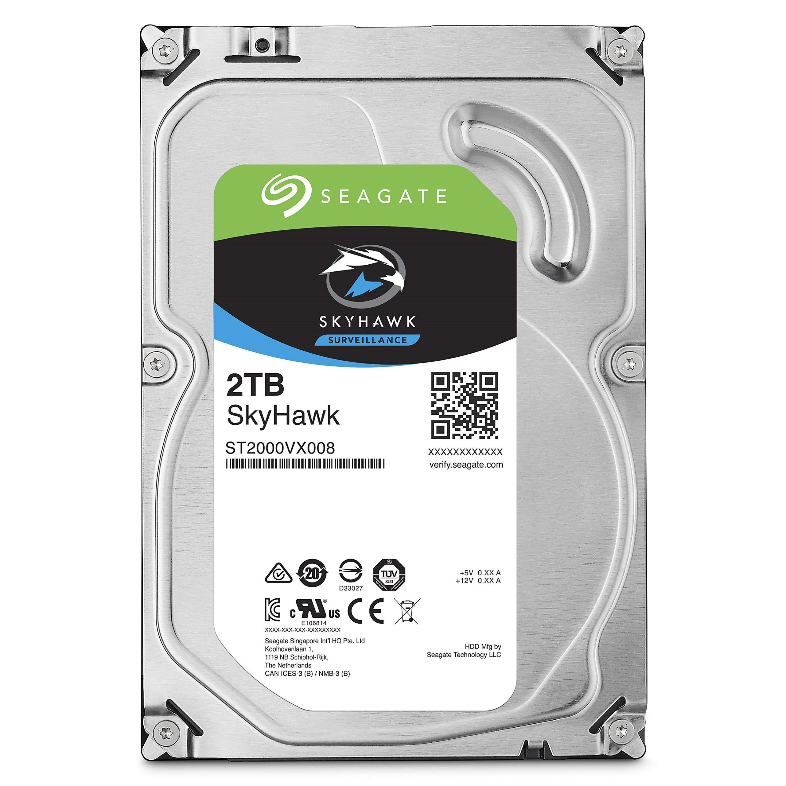 Seagate SkyHawk 2TB Surveillance Hard Drive - SATA 6Gb/s 64MB Cache 3.5-Inch Internal Drive (ST2000VX008)