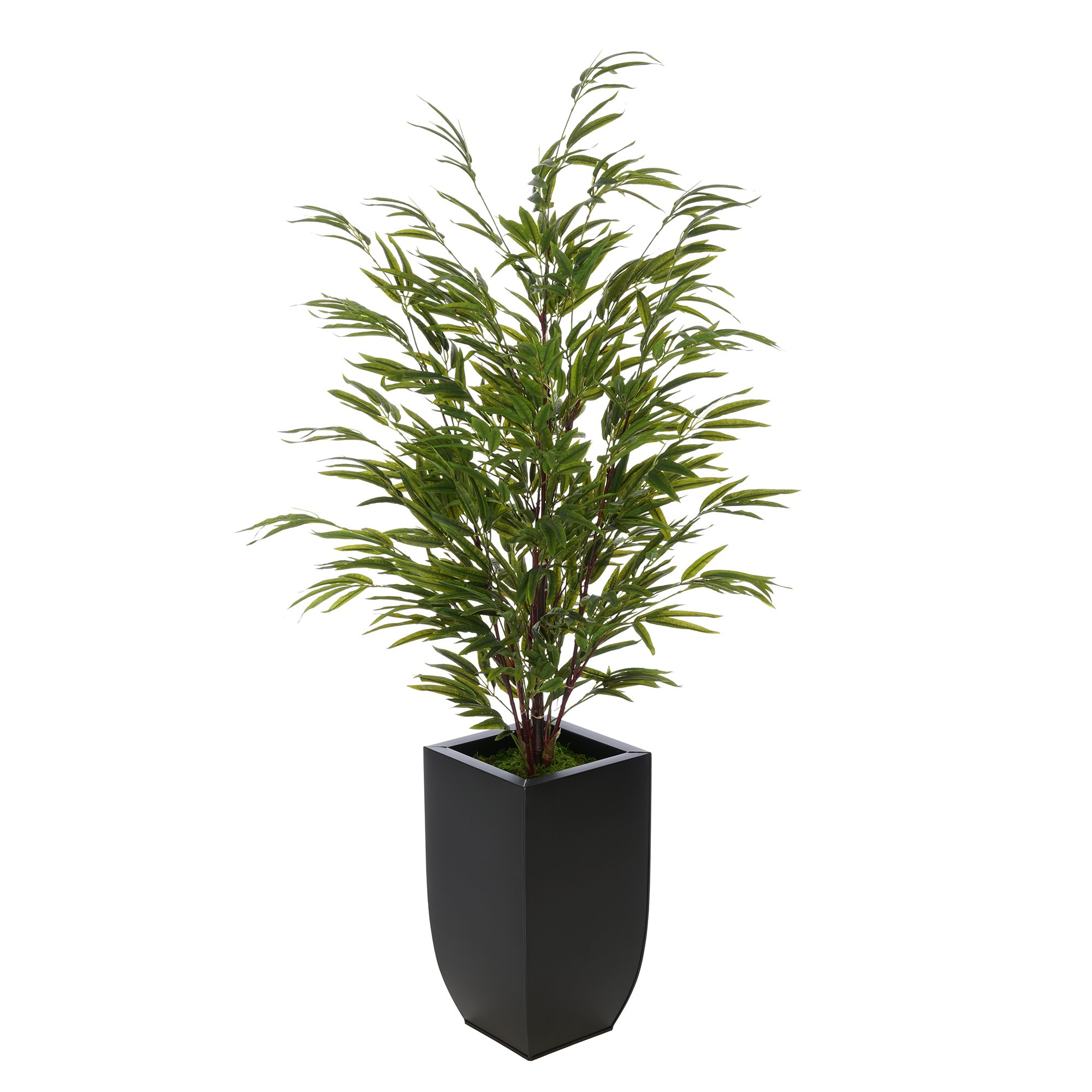 House of Silk Flowers Artificial 52-inch Bamboo in Black Tapered Zinc Vase (Black)