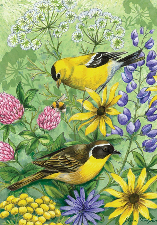 "Toland Home Garden 112578 Floral Finches 12.5 x 18 Inch Decorative, Garden Flag-12.5"" x18"""