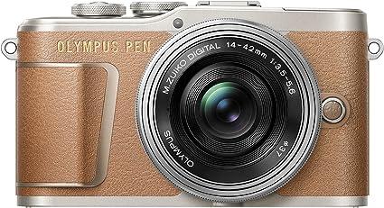 Olympus Pen E-PL9 Kit, Cámara de Sistema Micro Cuatro Tercios (16,4 MP, Estabilizador de Imagen de 5 Ejes, Visor Electrónico, 4K Vídeo) + Objetivo Mo 14-42mm EZ, marrón/Plata