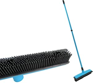PETDOM Pet Hair Broom Rubber Bristles - Push Broom with Squeegee & Telescoping Handle - Fur Remover for Dog Cat Hair from Carpet Hardwood Floors (blue)