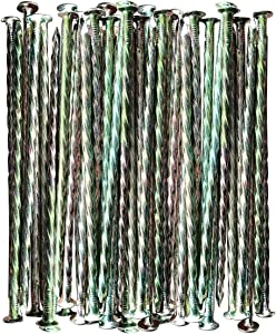 MAOMBO Artificial Turf Stakes Galvanized Metal Spiral Landscape Spikes for Fake Landscaping Grass, 35 Count, Outdoor, Heavy-Duty, Rust Resistant Security, 6-Inch Long, Spike Timber Nail