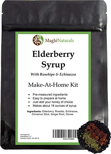 Elderberry Syrup Kit with Rosehips Echinacea Makes 18oz of Syrup DIY Elderberries – Ginger – Cloves – Cinnamon Sticks – Rosehips – Echinacea