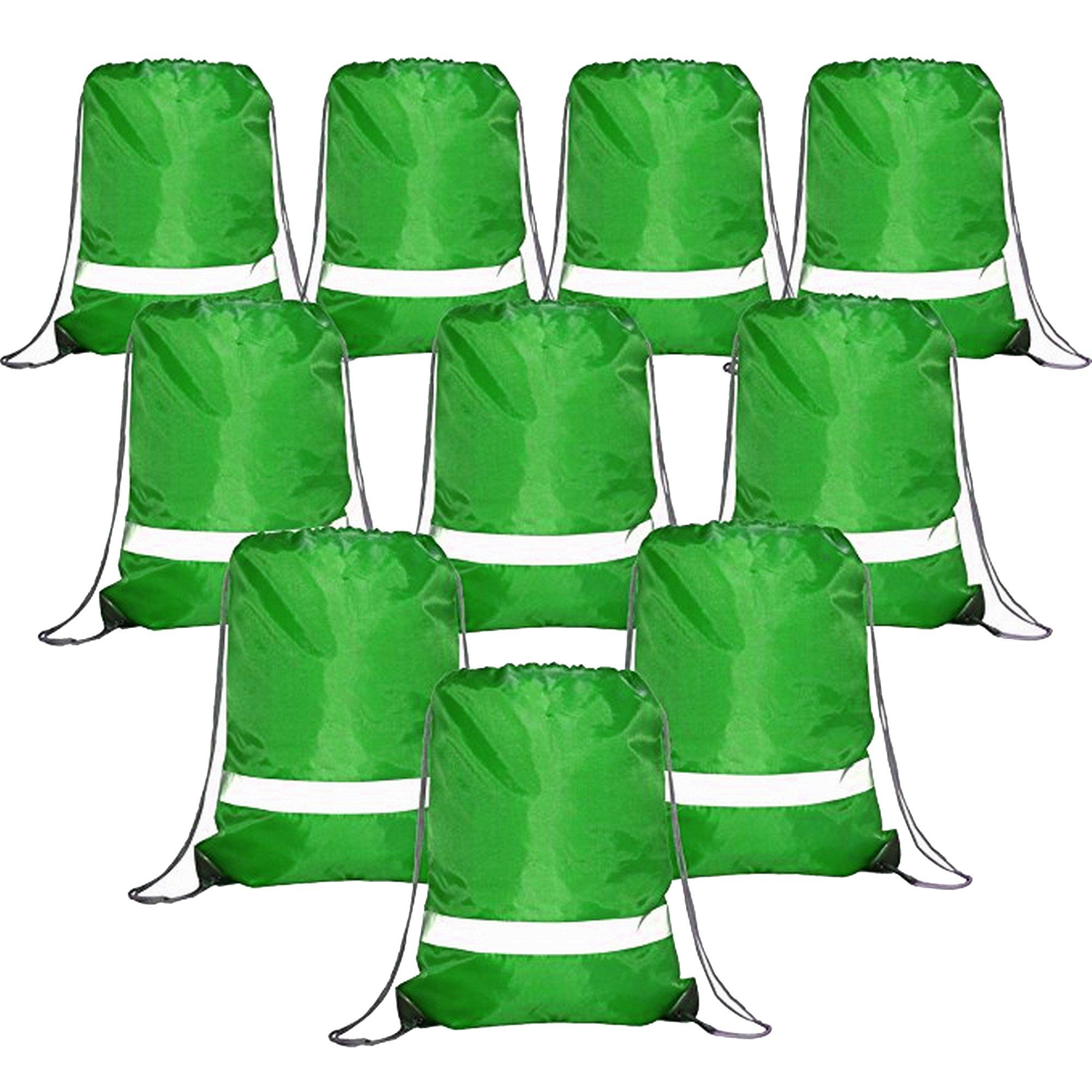 Drawstring Backpack Bags Reflective Bulk Pack, Promotional Sport Gym Sack Cinch Bags (10 Dark Green)