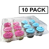 Katgely 12 Cupcake Containers - Cupcake Carrier Cupcake Holder - Easy and Safe Cupcake Transport in Clear Plastic - Pack of 10