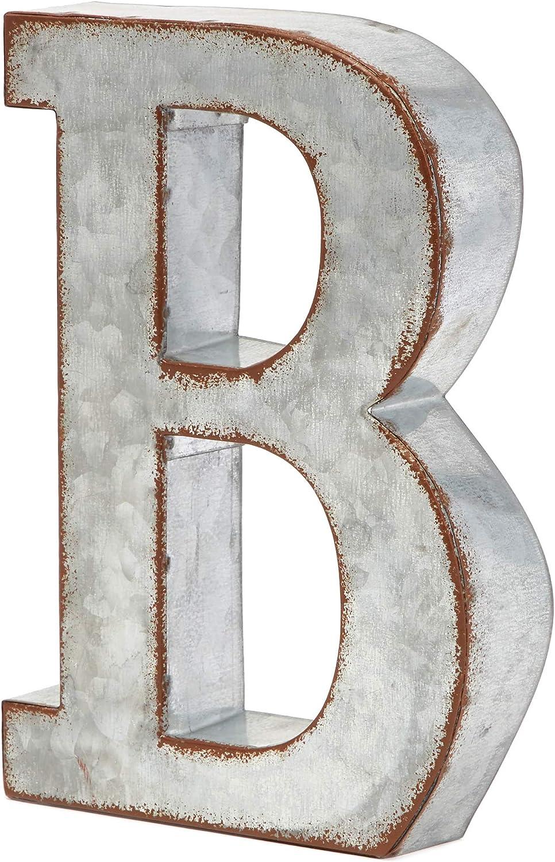 Bright Creations Rustic Letter Wall Decor - Galvanized Metal 3D Letter B Decor