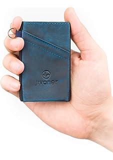 JIVANER Ultra Slim: Cartera Hombre de Piel Azul - Cartera Minimalista - Tarjetero RFID Bloqueo
