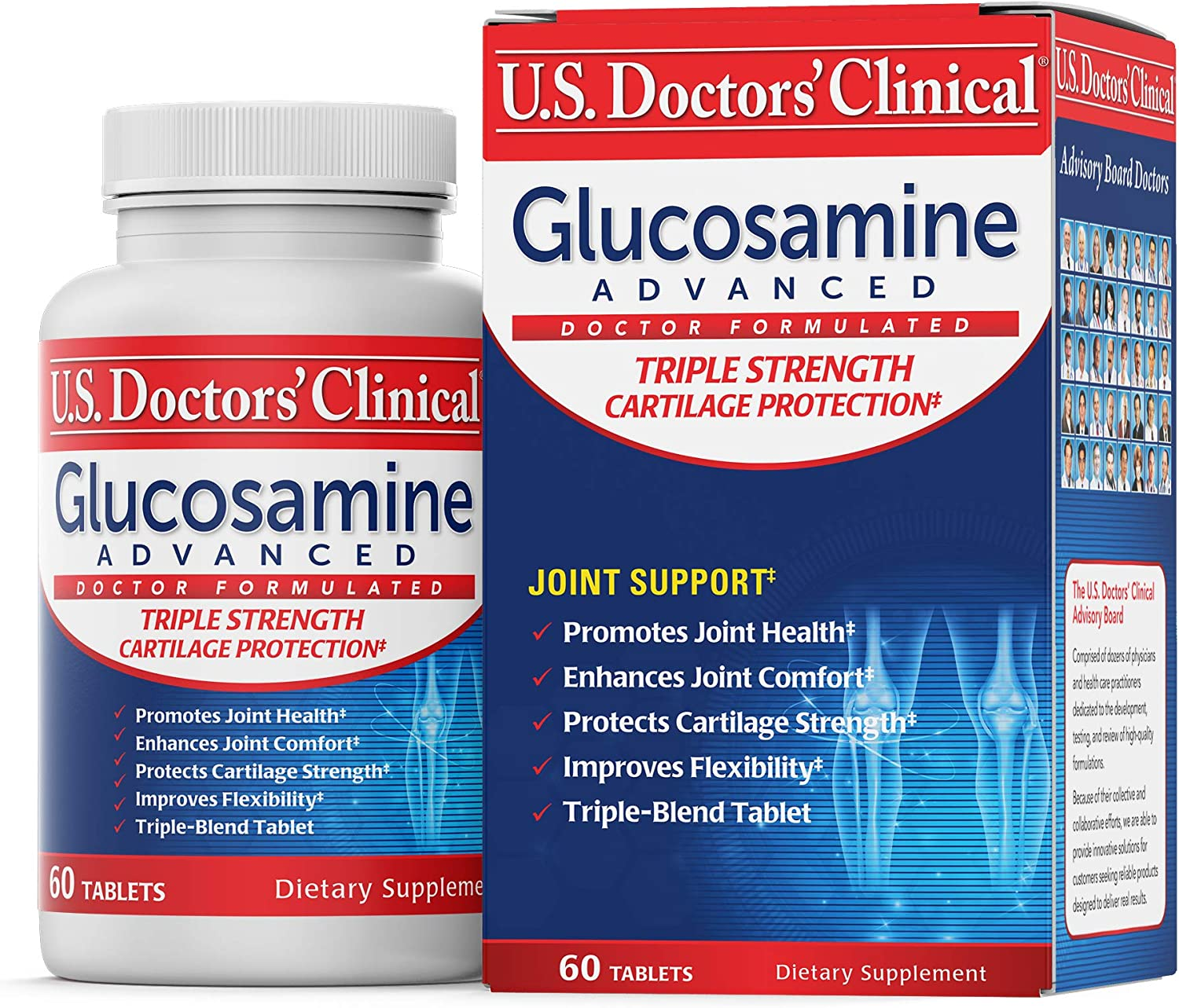 U.S. Doctors' Clinical Glucosamine Advanced Triple-Strength Joint Support with Chondroitin & MSM for Easy Joint Movement and Flexibility & Cartilage Strength Protection [1 Month Supply – 60 Tablets]
