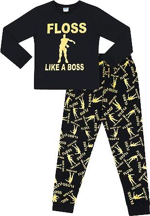 Pijamas largos para niños de danza de juegos de hilo negro dorado