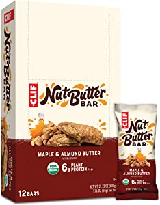Clif Bar Clif Nut Butter Bar - Organic Snack Bars, Maple Almond Butter, 1.76 Ounce (Pack of 12)