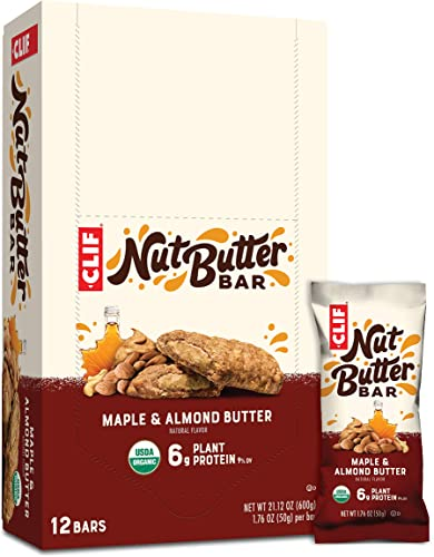 Clif Nut Butter Bar – Organic Snack Bars – Maple Almond Butter Flavor – 1.76 Ounce Protein Snack Bars, 12 Count Packaging May Vary
