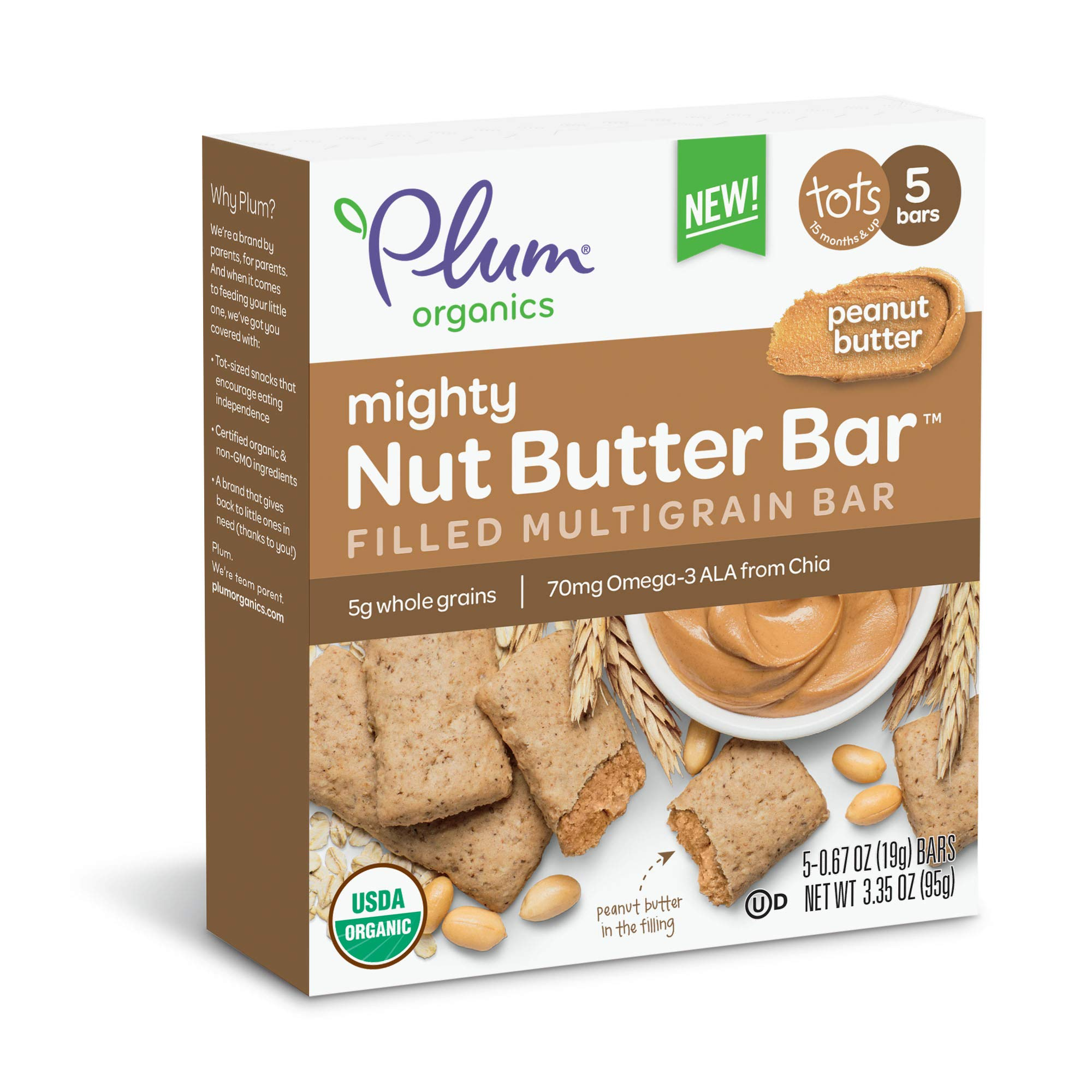 Plum Organics Mighty Nut Butter Organic Toddler Bar Peanut Butter