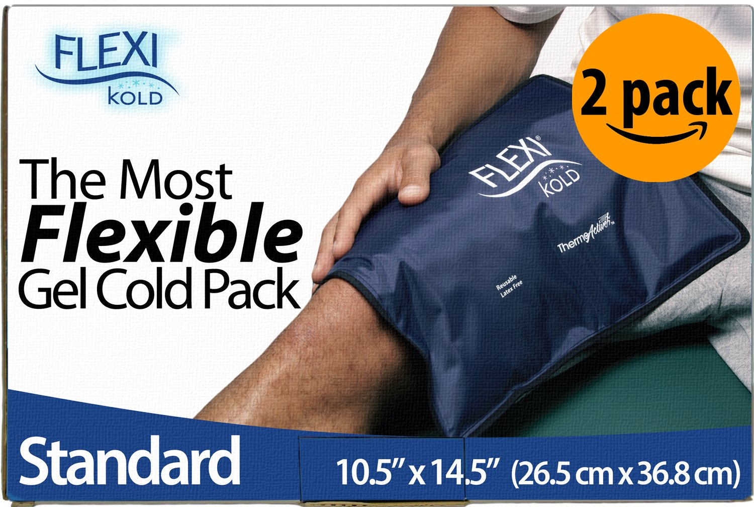 FlexiKold Gel Ice Pack (Standard Large: 10.5'' x 14.5'') - Two (2) Reusable Cold Therapy Packs (for Pain and Injuries to Knee, Shoulder, Foot, Back, Ankle, Neck, Hip, Wrist) - 6300-COLD