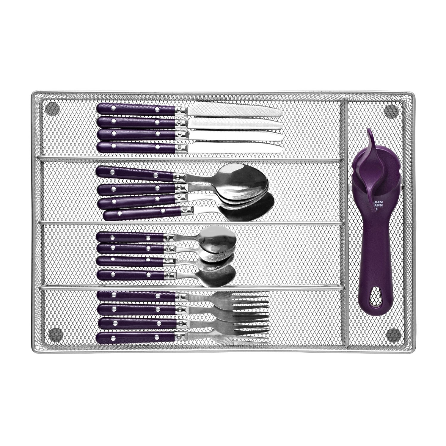 Cutlery Tray by Mindspace, 5 Compartments Utensil Organizer | The Mesh Collection, Silver