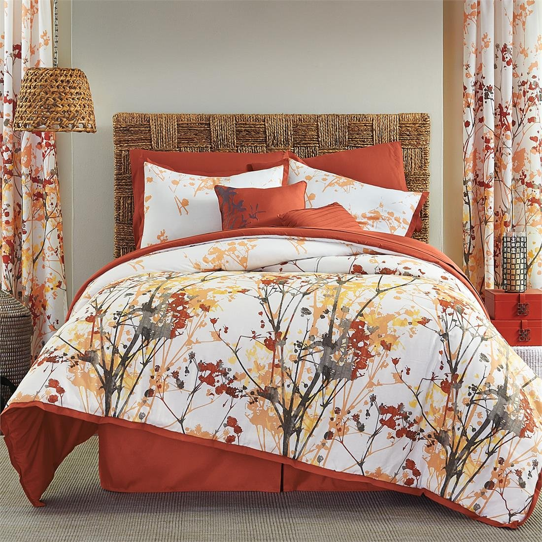 Brylanehome Funky Floral Oversized Multi-Pc. Comforter Set (Orange Grey,Queen)