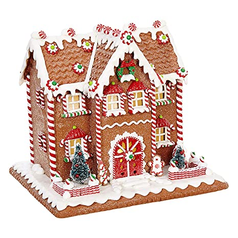 One Holiday Way 10 Inch Whimsical Lighted Christmas Gingerbread House Tabletop Christmas Decoration