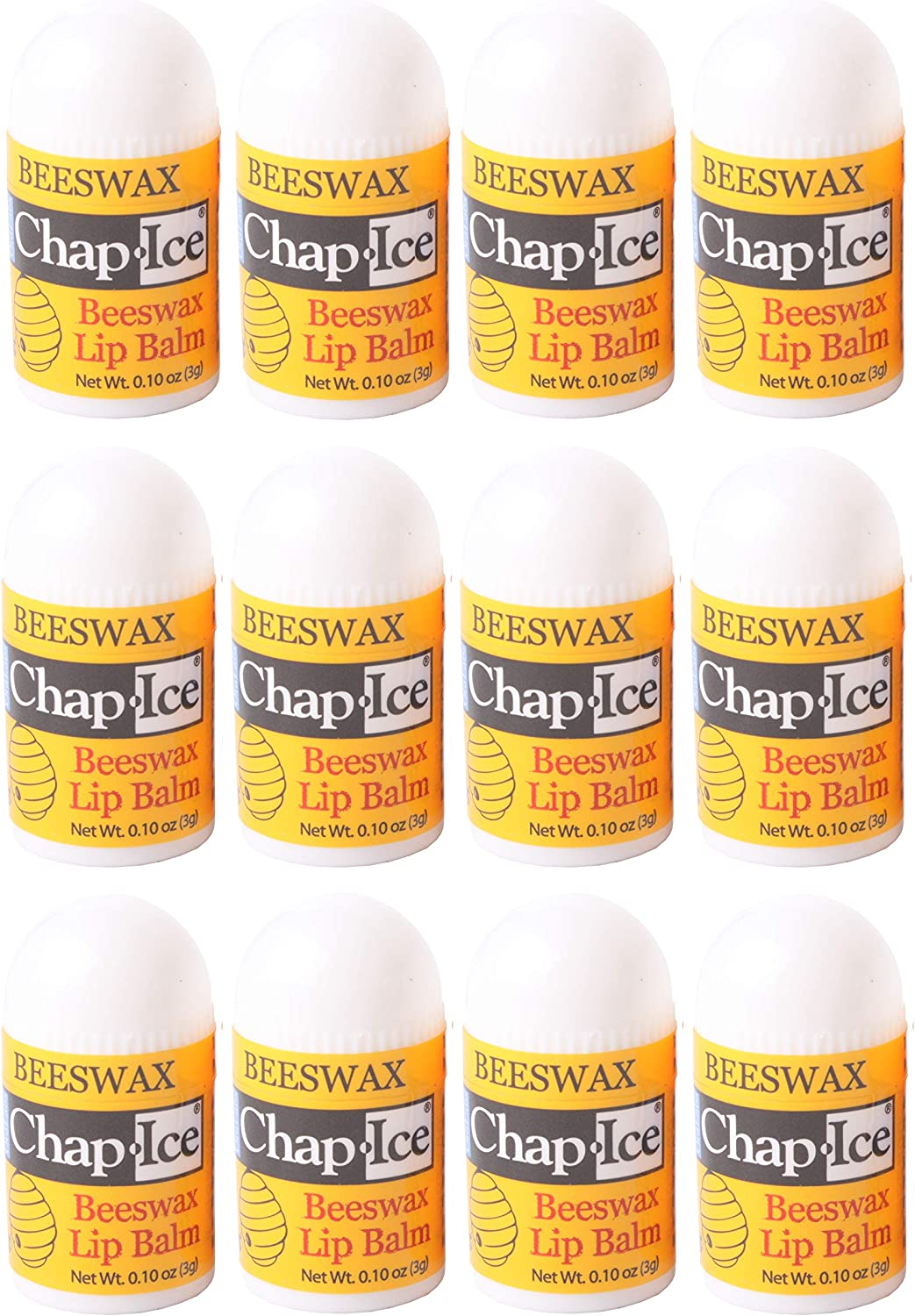 CHAP-ICE Mini Lip Balm, with Peppermint, Beeswax, 12 Count