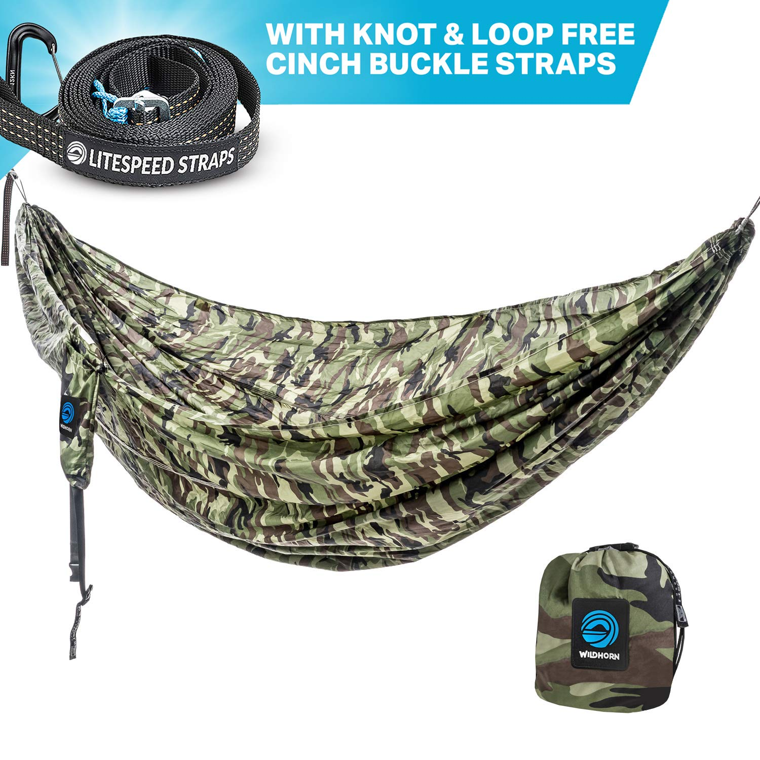 Wildhorn Outpost Double Single Portable Camping Hammock with Cinch Buckle Tree Straps