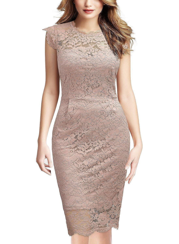 Miusol Women's Retro Floral Lace Slim Evening Party Dress