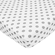TL Care 100% Natural Cotton Percale Fitted Crib Sheet for Standard Crib and Toddler Mattresses, White with Grey Dot, 28 x 52, Soft Breathable, for Boys and Girls