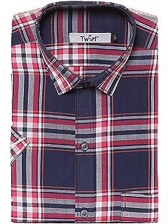 6e2dc2cfc94 Twist Men's Regular Fit Formal/Semi Casual Cotton Half Sleeve Checks ...
