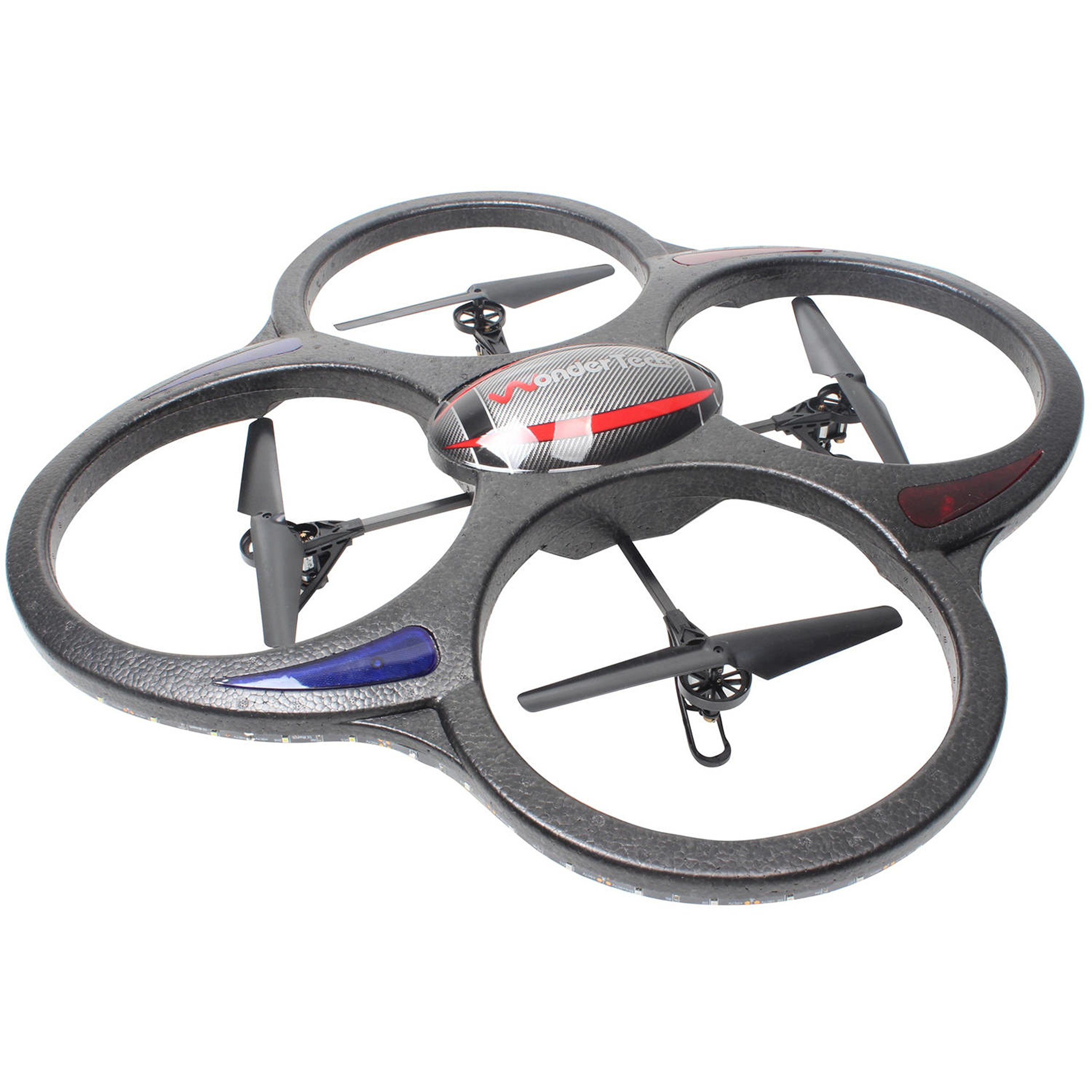6-Axis Gyro Stabilization 2.4GHz Remote Control Black Quadcopter Flying Drone with LED Lights by WonderTech
