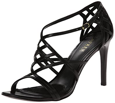 Lauren Ralph Lauren Women's Sydney Dress Sandal, Black Kidskin, ...