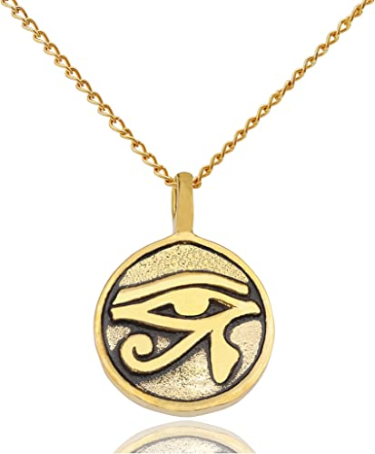Bronze Stone Egyptian Eye of Horus Ra Udjat Pendant Necklace