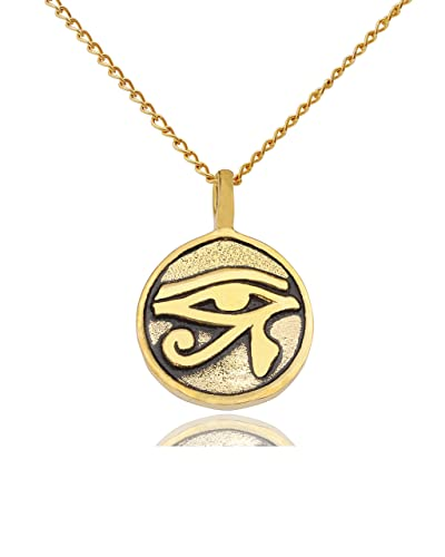 Egyptian eye of ra horus gold brass charm necklace pendant jewelry egyptian eye of ra horus gold brass charm necklace pendant jewelry amazon aloadofball Choice Image