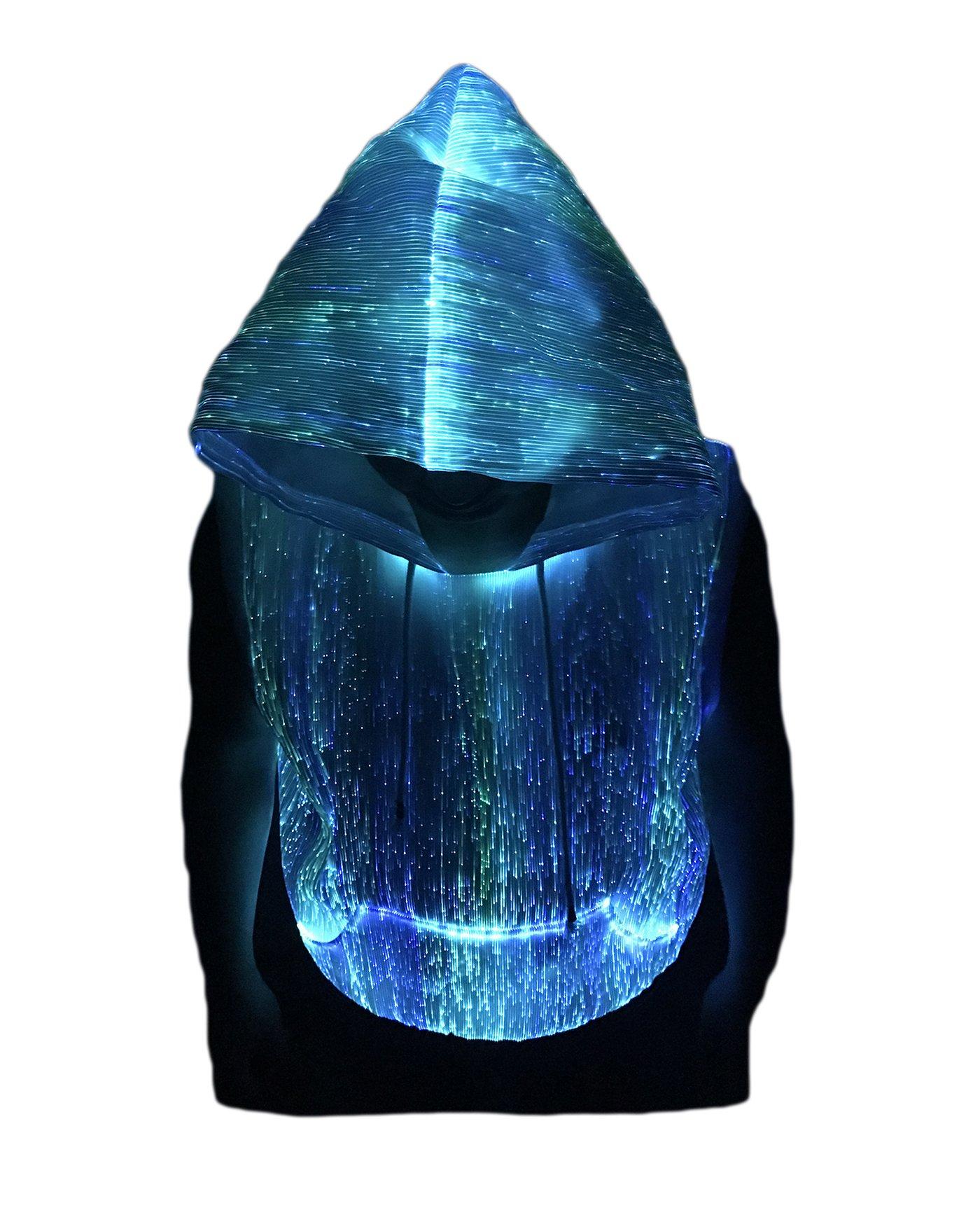 Fiber Optic Sleeveless Hoodie Light up Costume Hoodie Glow in the Dark Tank Top Hoodie (XXL)