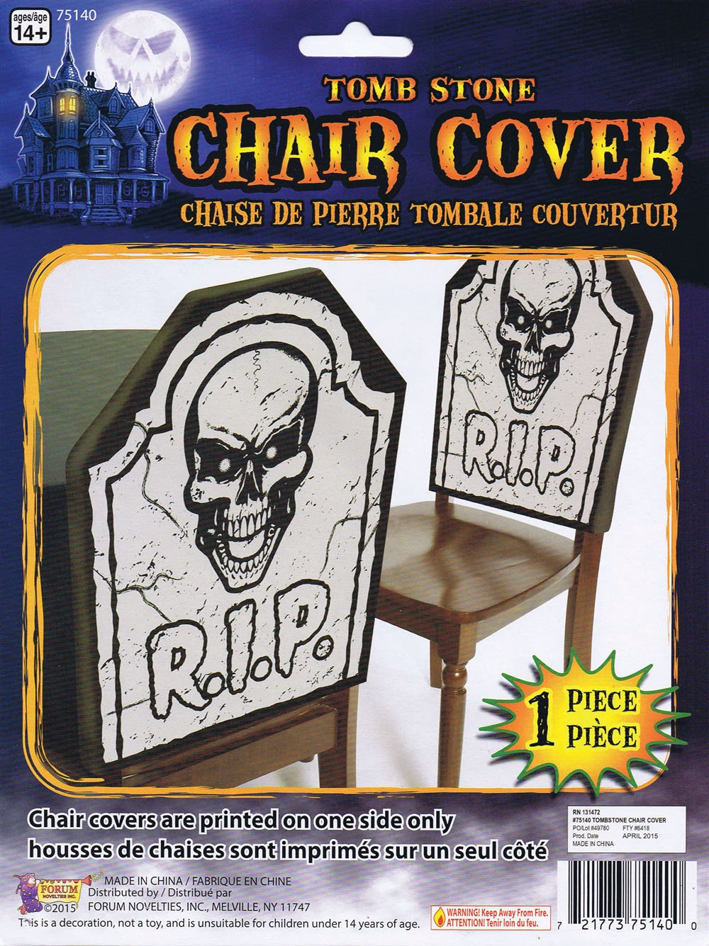 Graveyard Skull Tomb Chair Cover by Forum Novelties (Image #1)